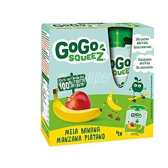 Gogo Squeez Preparado de manzana y plátano Gogosqueez Pack de 4 bolsitas de 90 g