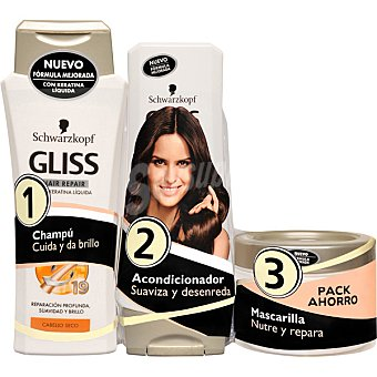 Gliss Schwarzkopf Champu Reparacion total frasco 300 ml + acondicionador + mascarilla Frasco 300 ml