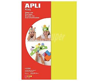 APLI Bolsa de planchas de foam, goma eva de colores fluorescentes (amarillo, verde, naranja y rojo) y de tamaño DIN A4 4 unidades