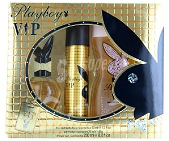 Playboy Fragrances Estuche Playboy Vip Woman: Eau de Toilette 50ml + desodorante 75ml + gel ducha 250ml 1 Unidad
