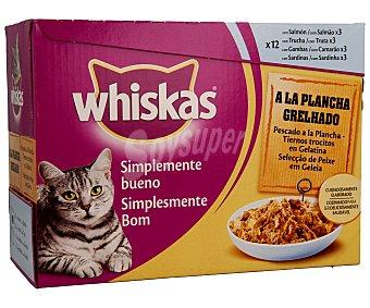 Whiskas Comida para gatos sabor pescados a la plancha en trocitos Pack 12 x 85 g
