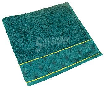 """Actuel Toalla de lavabo 100% algodón color azul oscuro con cenefa """"plumas"""", /m²m 450g"""