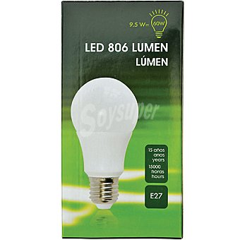 (60W) lámpara LED luz cálida casquillo E27 (grueso) 9.5 W 1 unidad