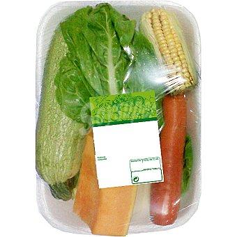 Potaje de acelgas contiene acelga, calabaza, zanahoria, maíz y calabacín peso aproximado Bandeja 1 kg