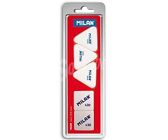 Milan Lote de 5 gomas de borrar, 3 de triangulares modelo 4045, de miga de pan y 2 cuadradas modelo 430 1 unidad