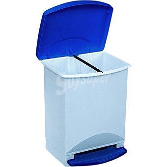 Araven Cubo de basura con pedal y tapa en color azul rectangular