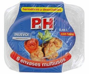 P & H Envases multiusos desechables con tapa 450cc 6 Unidades