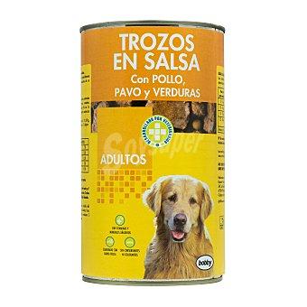 Bobby Comida perro trozos pavo pollo y verduras adulto razas medianas y grandes Bote 1230 g