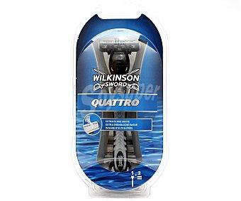 Wilkinson Maquinilla de afeitar recargable + 2 recambios Quattro Quattro