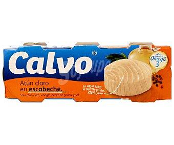 Calvo Atún claro en escabeche pack 3 latas 52 g neto escurrido Pack 3 latas 52 g