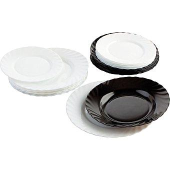 Luminarc Vajilla opal de 18 piezas para 6 servicios en color blanco y negro