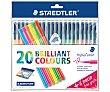 20 rotuladores, punta de fibra y grosor de 1mm con tinta de varios colores Triplus color  Staedtler