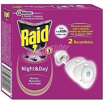 Raid Insecticida volador eléctrico Night & Day moscas mosquitos y hormigas recambio 2 unidades