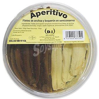 DJ Aperitivo de filetes de anchoa y boquerón en semiconserva Tarrina 100 g neto escurrido