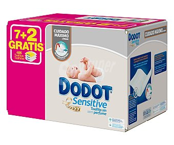 Dodot Sensitive Toallitas húmedas para bebé sin perfume 9 x 54 uds