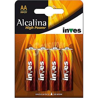 INVES HIGH POWER Pila alcalina AA(LR6) 15 voltios blister 4 unidades 4 unidades