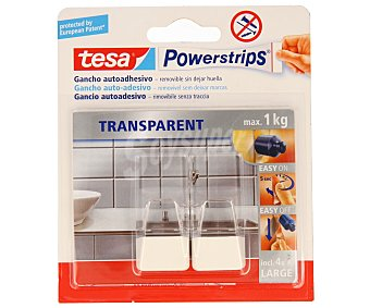 Tesa Juego de 2 ganchos adhesivos y removibles sin dejar huella de tamaño grande y de color transparente con toques de acero + 4 tiras adhesivas, modelo Powerstrips 2 unidades