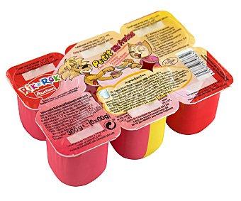 Rik&Rok Auchan Petit de frutas variadas (fresa, plátano y frambuesa) Pack de 6 unidades de 60 gramos