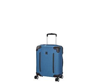 Itluggage Maleta con 8 ruedas pivotantes, estructura flexible de color azul, con las esquinas protegidas mediante goma de color negro Frameless, medida de 48 centímetros