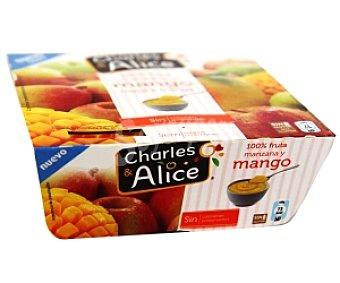 CHARLES & ALICE Compota de manzana y mango sin gluten 4 unidades 100 gramos