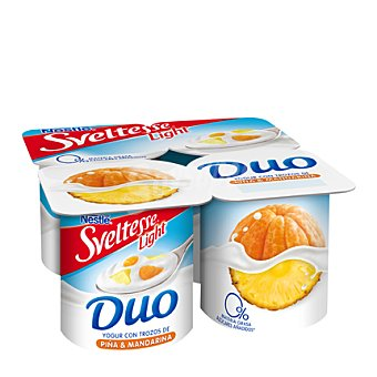 Sveltesse Nestlé Yogur con trozos de piña y mandarina light Pack de 4x125 g
