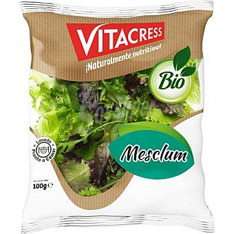 Vitacress Ensalada Mesclum ecológica mezcla lechuga roja, verde rizada, espinaca y rúcula selvática Bolsa 100 g