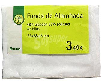Productos Económicos Alcampo Funda color blanco para almohada individual, 55x55 centímetros 1 unidad