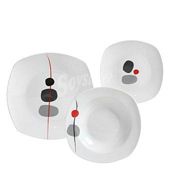 Vajilla 18 piezas en porcelana decorada Mod. ZEN 18 piezas