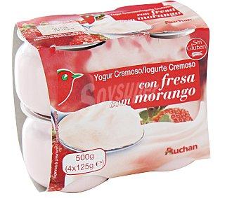 Auchan Yogur cremoso azucarado con fresa y nata Pack de 4 unidades de 125 gramos