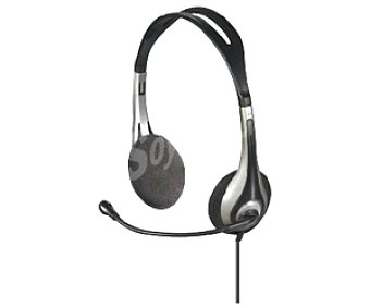 AUCHAN Auriculares tipo casco PC Head Set 841863 con cable y micrófono 841863 con cable y micrófono