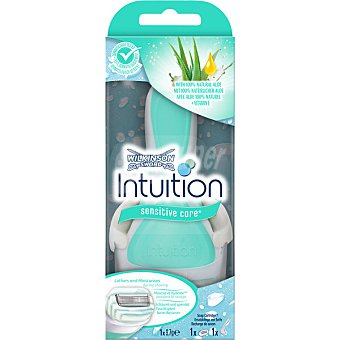 Wilkinson Maquinilla depilatoria Intuition Naturals aloe + vitamina E sensitive care blister 1 unidad + recambio 1 unidad