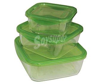 LUMINARC Taper cuadrados herméticos de vidrio con tapa de plástico, modelo Keep n Box Pack de 3 unidades