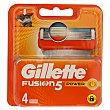 Recambio de cuchillas de cinco hojas para maquinilla de afeitar 5 Power 4 uds Gillette Fusion