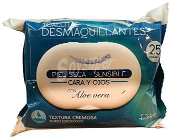 Deliplus Toallitas faciales desmaquilladoras cara y ojos piel seca-sensible con aloe vera (color azul) Paquete de 25 unidades