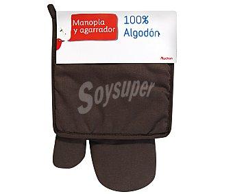 Auchan Conjunto de algodón, manopla y agarrador de cocina color marrón pardo 1 Unidad