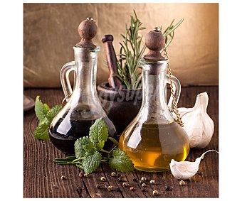IMAGINE Cuadro con la clásica imagen de unas botellas de aceite de oliva. Dimensiones 28x28Cm 1 Unidad