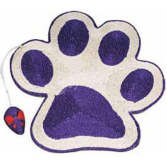 ARQUIVET Rascador para gato con forma de huella color lila con ratón medidas 40x36 cm 1 unidad