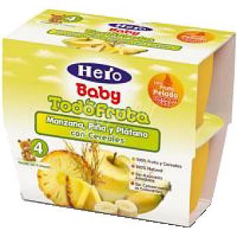 Hero Postre de manzana-piña-pera-cereales Pack 4x100 g