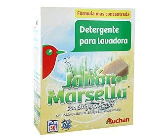 Auchan Detergente en polvo para lavadora con oxígeno activo y jabón de marsella 50 lavados