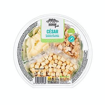 Verdifresh Ensalada cesar (escarola rizada, canonigos, radicchio, pollo, queso parmesano, salsa cesar, picatostes Y tenedor) Tarrina 210 g