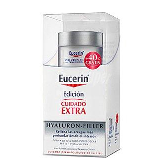 Eucerin Crema facial para pieles secas rellenador de arrugas Hyaluron Filler para el día con FP15 50 ml. + 20 ml