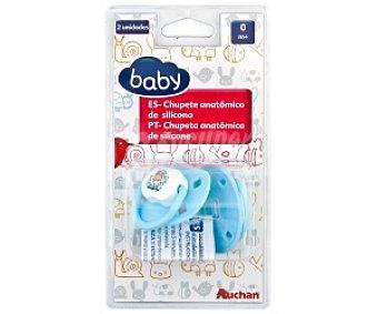 Baby Chupete anatómico de silicona 0-4 Meses, Azul 2 Unidades