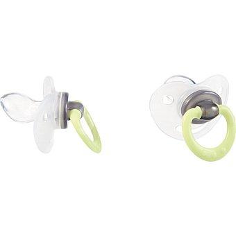 TIGEX Chupetes fisiológicos con tetina de silicona +6 meses noche colores surtidos blister 2 unidades