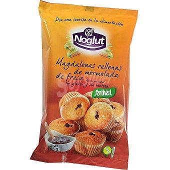 Santiveri Noglut Magdalenas rellenas de mermelada de fresa sin gluten sin lactosa Envase 195 g