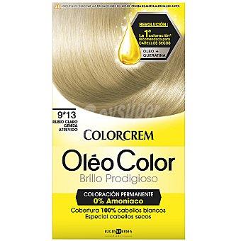 Colorcrem Tinte óleo Color Rubio Claro Ceniza Atrevido nº 9.13 coloración permanemte sin amoniaco Caja 1 unidad