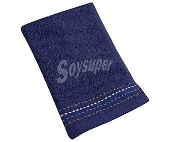 Actuel Toalla de tocador 100% algodón de 360g/m² color azul marino con pespunte en cenefa, actuel. 360 g