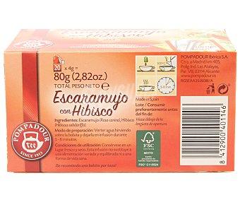 Pompadour Infusión escaramujo con hibisco 20 ud
