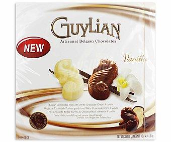 Guylian Surtido de bombones de chocolate belga rellenos de chocolate blanco y vainilla 140 gramos