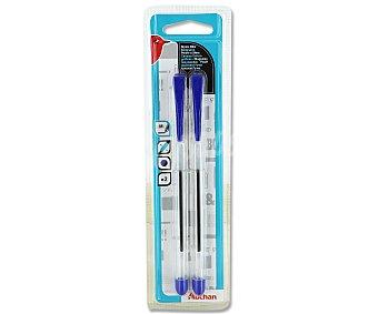 AUCHAN Bolígrafos Azules con Agarrador 2 Unidades