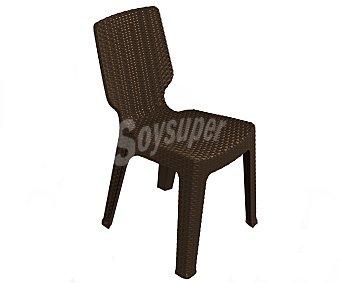 KETER Silla fija para jardín modelo t-chair. Fabricada en resina de color wengue y diseño rattan, medidas: 47.5x54.5x82 centímetros 1 unidad